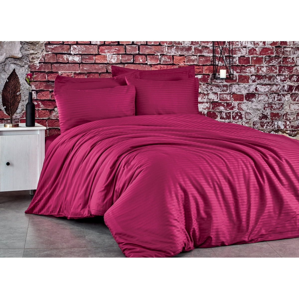 Спален комплект - 100% памук сатен - 210 нишки - Бордо