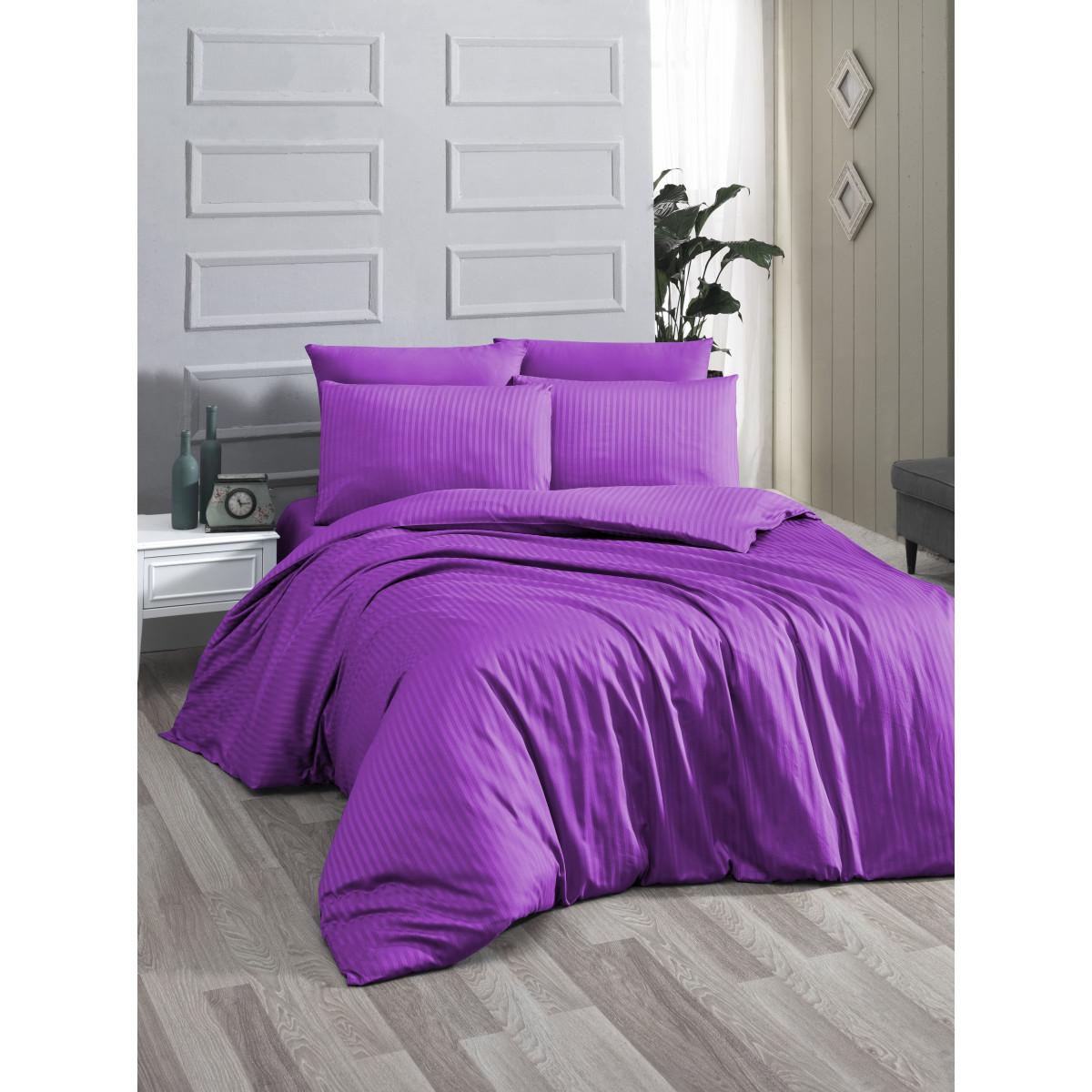 Спален комплект - 100% памук сатен - 210 нишки - Лила