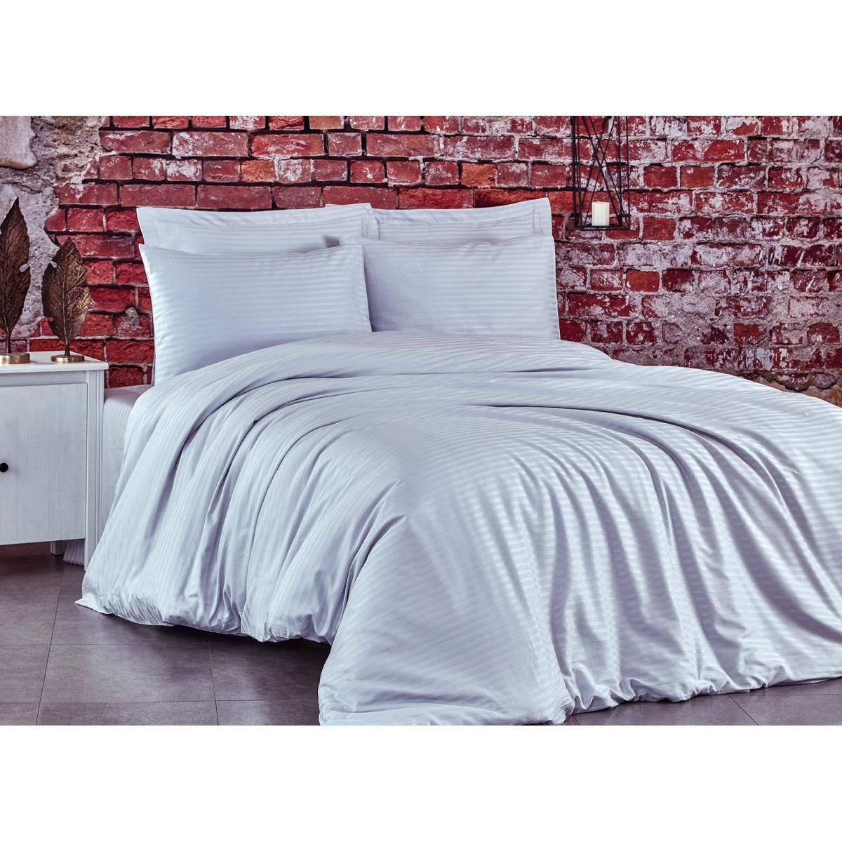 Спален комплект - 100% памук сатен - 210 нишки - Бяло