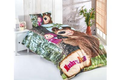 Детски спален комплект - Masha and The bear - 100% памук ранфорс - 3 части