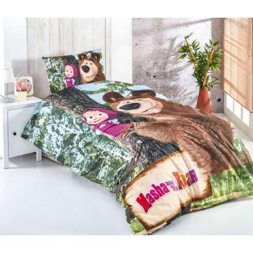 Детски спален комплект - Masha and The bear - 100% памук ранфорс - 3 части  от Ditex