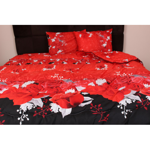 Олекотен спален комплект - 100% полиестер щампа - дисперс - Червена роза  от Ditex